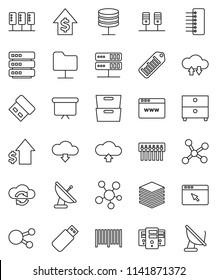 thin line vector icon set - archive vector, dollar growth, presentation board, barcode, social media, network, server, folder, cloud exchange, big data, browser, hub, upload, download, usb