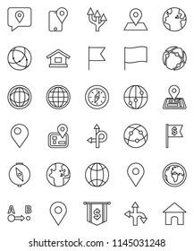 thin line vector icon set - compass vector, world, flag, dollar, route, navigator, earth, map pin, traking, internet, connection, globe, arrow, home