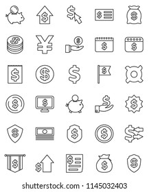 thin line vector icon set - exchange vector, dollar coin, cash, money bag, piggy bank, investment, growth, receipt, medal, flag, shield, calendar, monitor, cursor, any currency, yen sign