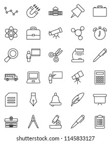 thin line vector icon set - pen vector, university, school building, blackboard, drawing compass, case, atom, telescope, microscope, bell, table lamp, calculator, notebook pc, alarm clock, paper pin