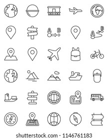 thin line vector icon set - camping cauldron vector, backpack, compass, school bus, world, bike, signpost, navigator, earth, map pin, plane, ship, route, Railway carriage, globe, mountain