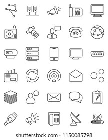thin line vector icon set - clipboard vector, radio, antenna, satellitie, internet, mobile phone, dialog, speaking man, mail, hdmi, network, server, big data, share, refresh, loudspeaker, monitor