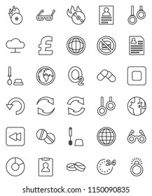 thin line vector icon set - toilet brush vector, glasses, world, personal information, pie graph, pound, no fastfood, gymnast rings, oxygen, earth, music hit, stop button, backward, pills, refresh