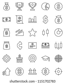 thin line vector icon set - graduate hat vector, award cup, certificate, graph, pie, japanese candle, money bag, dollar growth, bank building, target, medal, cent sign, stairways run, top, favorites
