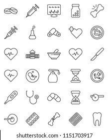 thin line vector icon set - liquid soap vector, school building, heart pulse, cross, thermometer, flask, pregnancy, insemination, syringe, scalpel, broken bone, sand clock, stethoscope, pills, tooth