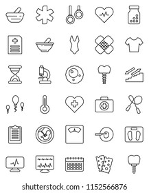 thin line vector icon set - scales vector, clipboard, jump rope, swimsuite, t shirt, calendar, stairways run, breads, heart cross, first aid kit, gymnast rings, ambulance star, pulse, thermometer