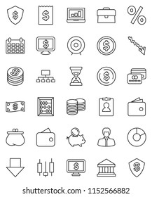 thin line vector icon set - abacus vector, bank, dollar coin, pie graph, japanese candle, laptop, wallet, crisis, piggy, manager, case, stack, receipt, target, sand clock, arrow down, shield, cash
