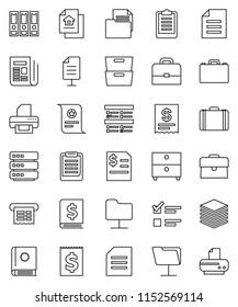 thin line vector icon set - case vector, clipboard, certificate, document, archive, exam, annual report, binder, receipt, newspaper, network folder, big data, estate, catalog, printer