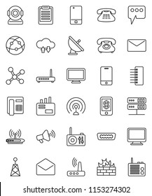 thin line vector icon set - clipboard vector, phone, satellite antenna, loudspeaker, internet, mobile, classic, mail, hdmi, network, server, cloud exchange, firewall, hub, router, message, tap pay