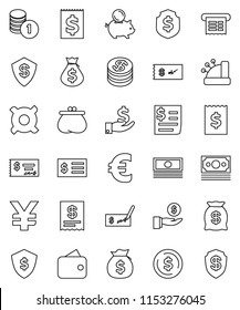 thin line vector icon set - dollar coin vector, cash, money bag, piggy bank, investment, stack, check, receipt, shield, any currency, euro sign, yen, wallet, cashbox