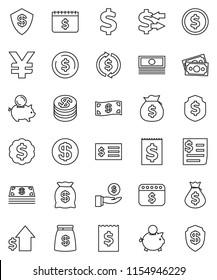 thin line vector icon set - exchange vector, dollar coin, cash, money bag, piggy bank, investment, growth, receipt, medal, shield, calendar, yen sign