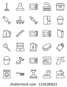 thin line vector icon set - water tap vector, vacuum cleaner, fetlock, mop, bucket, sponge, car, washing powder, rubber glove, kettle, microwave oven, blender, fridge, washer, coffee maker, hood