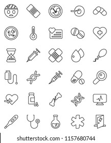 thin line vector icon set - flask vector, pills vial, heart monitor, cross, ambulance star, pulse, thermometer, dna, magnifier, pregnancy, insemination, syringe, broken bone, sand clock, patch