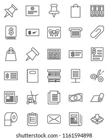 thin line vector icon set - cleaner trolley vector, toilet paper, copybook, schedule, clipboard, pin, certificate, exam, cash, annual report, receipt, binder, fitness mat, document, newspaper, mail