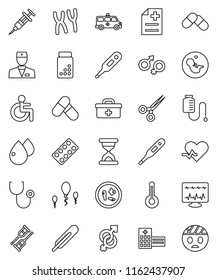 thin line vector icon set - pills vial vector, doctor bag, disabled, heart pulse, thermometer, gender sign, pregnancy, syringe, crutches, scissors, sand clock, stethoscope, blister, microbs, counter
