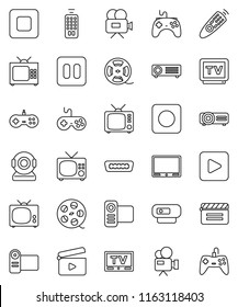 thin line vector icon set - cinema clap vector, film spool, tv, gamepad, video camera, remote control, play button, pause, stop, rec, hdmi, web, projector