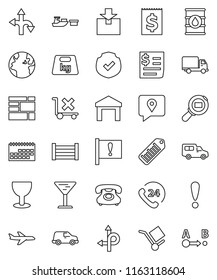 thin line vector icon set - route vector, earth, attention, plane, phone, 24, traking, delivery, car, calendar, receipt, port, wood box, consolidated cargo, glass, no trolley, warehouse, package