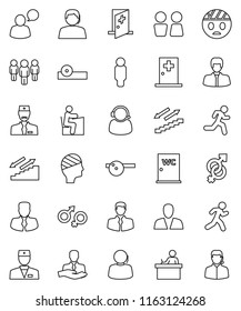 thin line vector icon set - water closet vector, student, manager, man, stairways run, support, client, speaking, doctor, gender sign, eye hat, head bandage, medical room, consumer