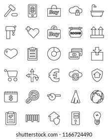 thin line vector icon set - towel vector, pie graph, dollar calendar, euro sign, route, clipboard, top, package, barcode, heart, cross, eye doctor hat, connection, cloud exchange, lock, server, bath