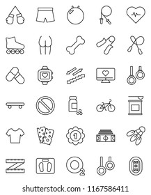thin line vector icon set - measuring vector, scales, heart pulse, stadium, pills vial, bike, jump rope, hand trainer, fitball, buttocks, boxing glove, shorts, t shirt, roller Skates, skateboard