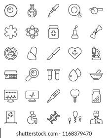 thin line vector icon set - atom vector, heart cross, oxygen, ambulance star, disabled, thermometer, flask, vial, dna, magnifier, dropper, scalpel, broken bone, pills bottle, mortar, eye doctor hat