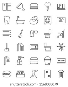thin line vector icon set - soap vector, plunger, scraper, cleaner trolley, broom, scoop, bucket, sponge, towel, window cleaning, welcome mat, bath, toilet, drying clothes, liquid, shining, shower