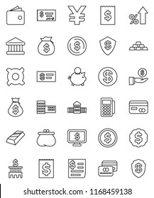 thin line vector icon set - school building vector, bank, dollar coin, gold ingot, wallet, percent growth, money bag, piggy, investment, check, receipt, medal, monitor, any currency, yen sign
