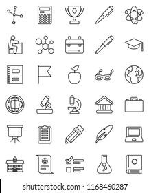 thin line vector icon set - copybook vector, graduate hat, pen, university, pencil, glasses, student, case, backpack, apple fruit, atom, microscope, calculator, notebook pc, award cup, certificate