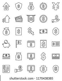 thin line vector icon set - exchange vector, dollar coin, cash, money bag, piggy bank, investment, growth, receipt, medal, flag, shield, calendar, monitor, cursor, yen sign