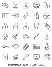 thin line vector icon set - flask vector, heart cross, doctor bag, vial, gender sign, dna, insemination, syringe, dropper, scissors, sand clock, patch, pills, bottle, blister, eye hat, microscope