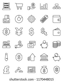 thin line vector icon set - abacus vector, bank, graph, pie, cart, laptop, credit card, wallet, money bag, piggy, investment, dollar growth, coin stack, auction, target, medal, tie, shield, cursor