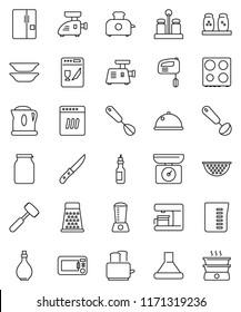 thin line vector icon set - oil vector, colander, measuring cup, whisk, ladle, knife, meat hammer, grater, toaster, oven, spices, plates, dish, jar, fridge, dishwasher, mixer, coffee maker, grinder