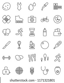 thin line vector icon set - toaster vector, potato, microscope, barbell, bike, punching bag, fitball, boxing glove, swimsuite, roller Skates, target, water bottle, cereals, first aid kit, run, patch