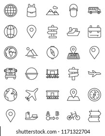 thin line vector icon set - camping cauldron vector, backpack, compass, school bus, bike, signpost, navigator, earth, map pin, Railway carriage, plane, ship, route, globe, mountain