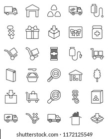 thin line vector icon set - washing powder vector, cereal, pasta, delivery, cargo, no trolley, hook, warehouse, package, search, pills bottle, drop counter, relocation truck, gift