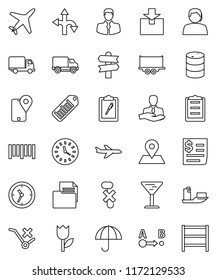 thin line vector icon set - route vector, signpost, map pin, plane, support, client, traking, ship, truck trailer, delivery, clock, receipt, clipboard, document, glass, umbrella, no trolley, hook
