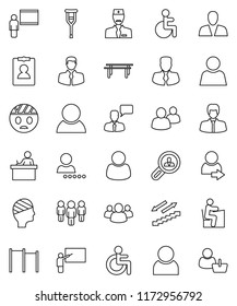 thin line vector icon set - blackboard vector, student, manager, man, personal information, horizontal bar, stairways run, client, speaking, group, disabled, crutches, head bandage, doctor, user