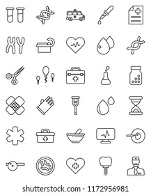 thin line vector icon set - rubber glove vector, doctor bag, ambulance star, heart pulse, cross, flask, vial, dna, insemination, dropper, crutches, scissors, sand clock, patch, pills bottle, mortar