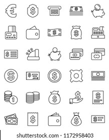 thin line vector icon set - dollar coin vector, credit card, wallet, cash, money bag, piggy bank, investment, stack, check, receipt, shield, any currency, euro sign, cashbox