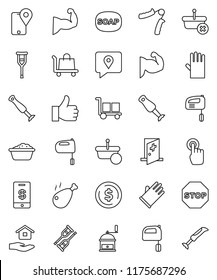 thin line vector icon set - soap vector, foam basin, rubber glove, house hold, hand mill, mixer, blender, chicken leg, dollar coin, trainer, muscule, traking, cargo, touchscreen, finger up, crutches
