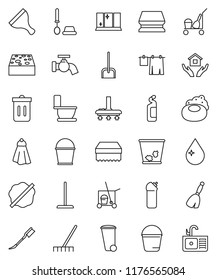 thin line vector icon set - soap vector, scraper, cleaner trolley, broom, vacuum, mop, scoop, rake, bucket, sponge, towel, trash bin, water drop, tap, car fetlock, splotch, toilet, drying clothes