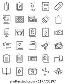 thin line vector icon set - toilet paper vector, book, copybook, schedule, clipboard, pin, constellation, exam, cash, annual report, receipt, dollar calendar, fitness mat, money, document, newspaper