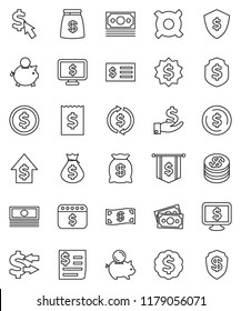thin line vector icon set - exchange vector, dollar coin, cash, money bag, piggy bank, investment, growth, receipt, medal, flag, shield, calendar, monitor, cursor, any currency