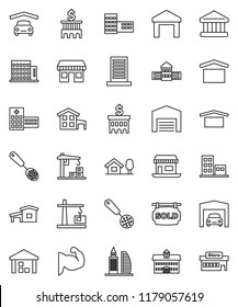 thin line vector icon set - skimmer vector, university, school building, bank, muscule hand, office, dry cargo, warehouse, hospital, cottage, chalet, garage, barn, sold signboard, apartments, mall