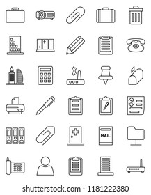 thin line vector icon set - trash bin vector, shining window, pencil, case, pen, clipboard, binder, phone, receipt, classic, thumbtack, medical room, network folder, router, attachment, user