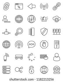 thin line vector icon set - world vector, antenna, internet, social media, connect, server, cloud exchange, big data, browser, shield, firewall, hub, usb modem, message, bench, arrow, loading, chain