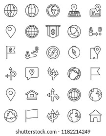 thin line vector icon set - compass vector, world, flag, dollar, route, navigator, earth, traking, internet, connection, globe, arrow, pin, home