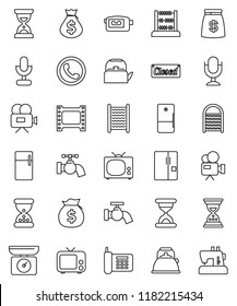 thin line vector icon set - water tap vector, washboard, kettle, abacus, money bag, sand clock, phone, film frame, tv, video camera, microphone, fridge, closed, kitchen scales, sewing machine