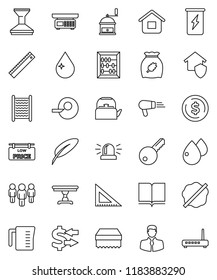 thin line vector icon set - sponge vector, water drop, car fetlock, splotch, washboard, kettle, measuring cup, hand mill, cereal, book, pen, corner ruler, abacus, exchange, dollar coin, man, client