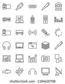 thin line vector icon set - pen vector, laptop graph, equalizer, remote control, headphones, notebook pc, hdmi, big data, browser, lan connector, bench, loading, route arrow, wireless, monitor, web